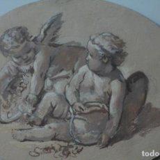 Arte: BOUCHER FRANCOIS (PARÍS 1703-1770):PAREJA DE PUTTIS CON FLORES. Lote 212942116