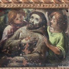 Arte: IMPORTANTE MINIATURA OLEO SOBRE COBRE S.XVIII. SAN FRANCISCO SOSTENIDO POR DOS ANGELES.. Lote 212955391
