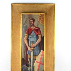 Arte: SANT JORDI - RETRATO AL ÓLEO SOBRE TABLA, FIRMA ILEGIBLE, FECHADO 1964.. Lote 212978426