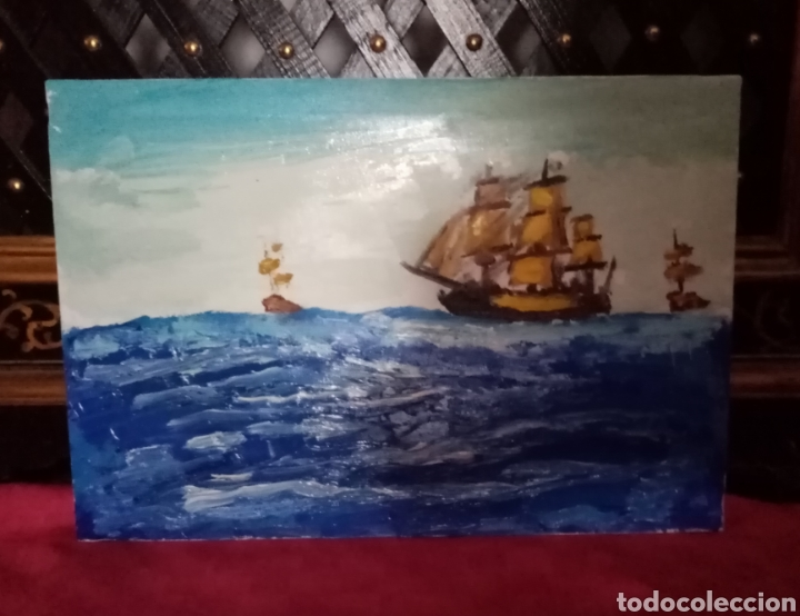 Arte: Bonita Pintura de barcos en alta mar. Óleo sobre lienzo. 35.2cm x 24cm - Foto 2 - 213006012