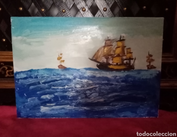 Arte: Bonita Pintura de barcos en alta mar. Óleo sobre lienzo. 35.2cm x 24cm - Foto 3 - 213006012