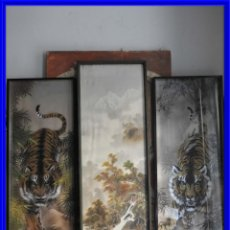 Arte: CUADROS ANTIGUOS PINTADOS SOBRE SEDA TIGRES DE BENGALA. Lote 213113047