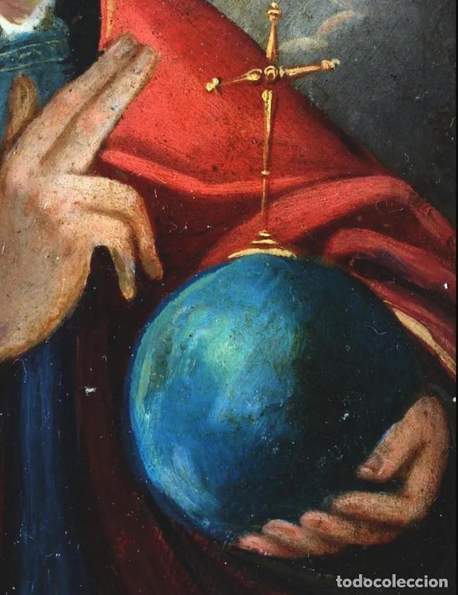 Arte: ÓLEO S/COBRE CRISTO SALVATOR MUNDI. MARCO ÉBANO DE ÉPOCA. ESCUELA ITALIANA S. XVII. 26X21 CMS. - Foto 9 - 213117381