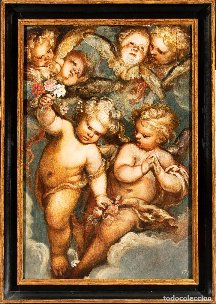 ÓLEO TABLA ÁNGELES NIÑOS FRANCISCO RIZI MADRID 1608 - SAN LORENZO DEL ESCORIAL 1685 (Arte - Pintura - Pintura al Óleo Antigua siglo XVII)