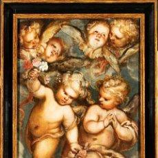 Arte: ÓLEO TABLA ÁNGELES NIÑOS FRANCISCO RIZI MADRID 1608 - SAN LORENZO DEL ESCORIAL 1685. Lote 213121976