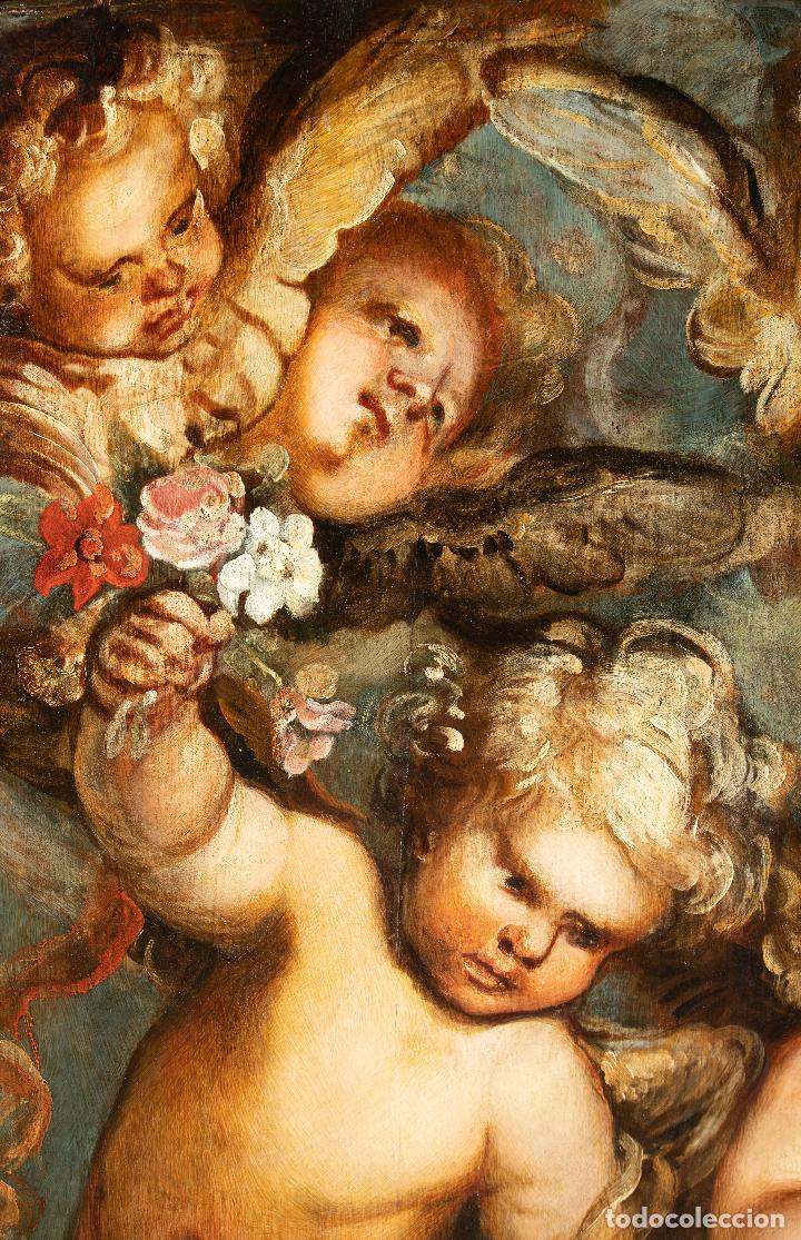Arte: Óleo tabla Ángeles Niños Francisco Rizi Madrid 1608 - San Lorenzo del Escorial 1685 - Foto 2 - 213121976