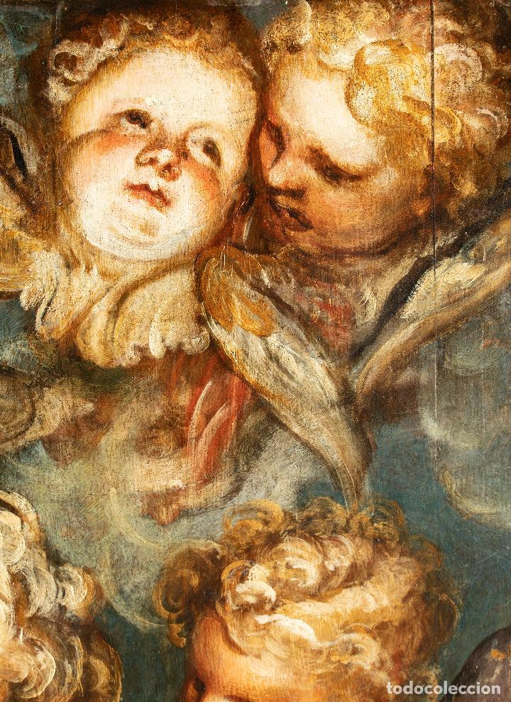 Arte: Óleo tabla Ángeles Niños Francisco Rizi Madrid 1608 - San Lorenzo del Escorial 1685 - Foto 4 - 213121976