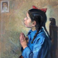 Arte: JOSEP ROVIRA SOLER (SANTIAGO DE CUBA 1900-1998) - NIÑA REZANDO - ÓLEO. Lote 213126492
