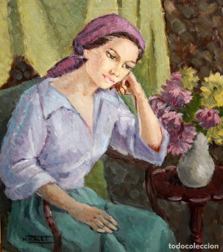 MERCEDES MALET TRAVY (BARCELONA, 1918-?) OLEO SOBRE TELA. RETRATO FEMENINO (Arte - Pintura - Pintura al Óleo Contemporánea )