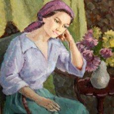 Arte: MERCEDES MALET TRAVY (BARCELONA, 1918-?) OLEO SOBRE TELA. RETRATO FEMENINO. Lote 213131122