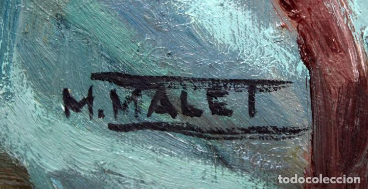 Arte: MERCEDES MALET TRAVY (Barcelona, 1918-?) OLEO SOBRE TELA. RETRATO FEMENINO - Foto 6 - 213131122