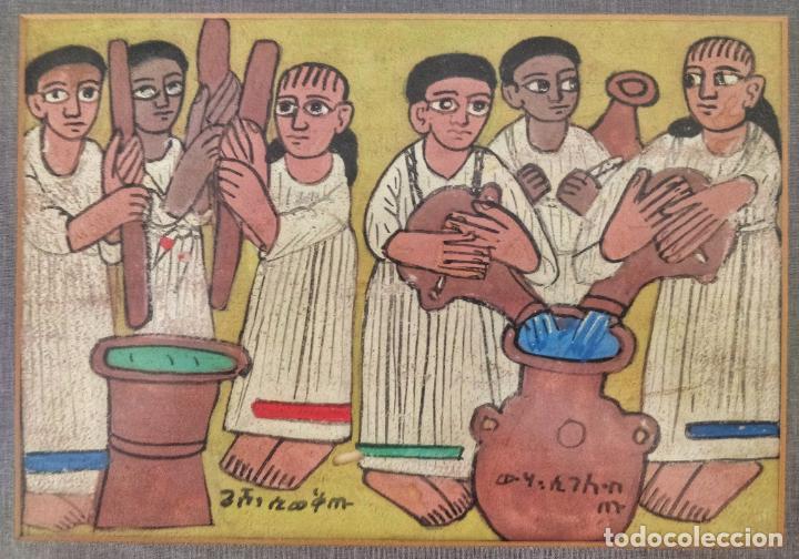 PINTURA ORIGINAL AFRICANA EN GOUACHE ETIOPÍA, ENMARCADA - 1940'S, MUY RARA (Arte - Pintura - Pintura al Óleo Contemporánea )