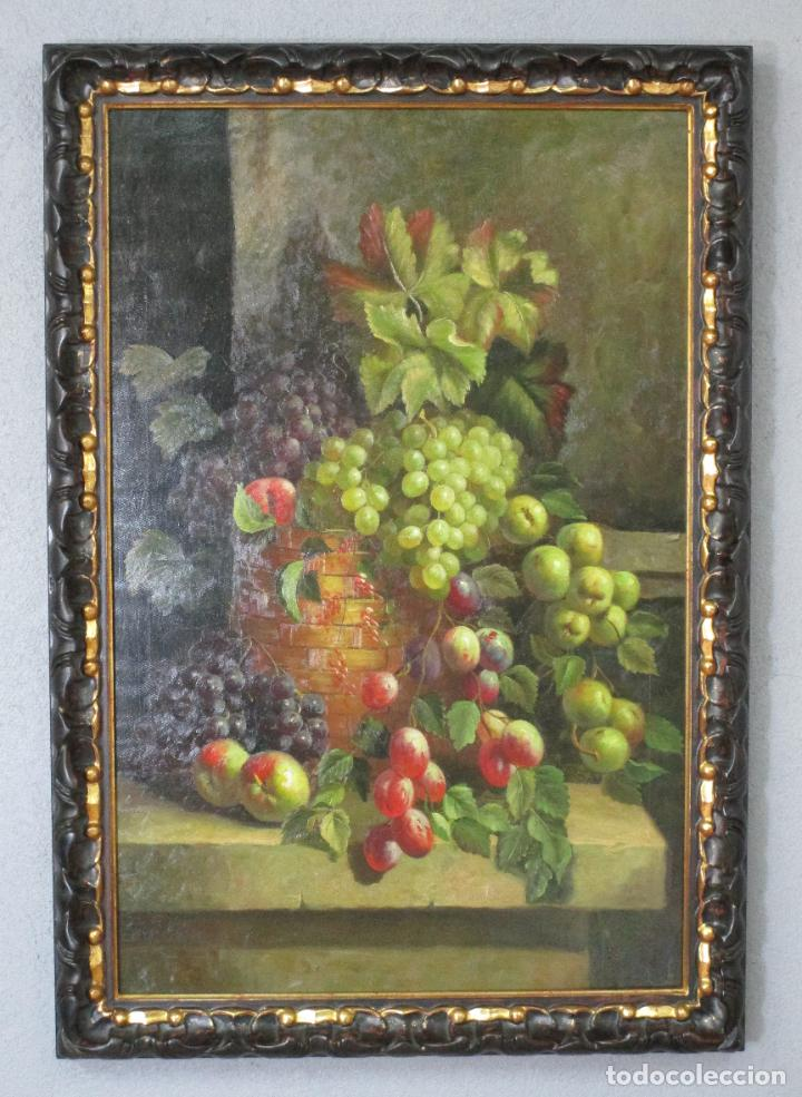 Arte: Precioso Bodegón - Óleo sobre Tela - Frutas - S. XIX - Foto 2 - 213338661