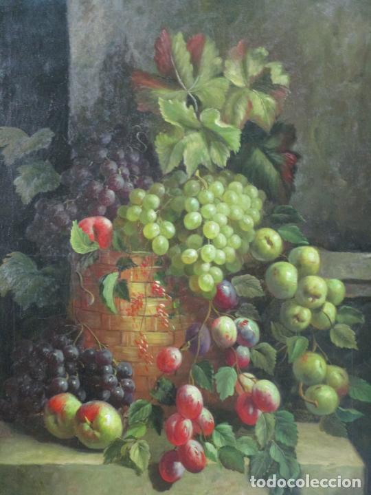 Arte: Precioso Bodegón - Óleo sobre Tela - Frutas - S. XIX - Foto 3 - 213338661
