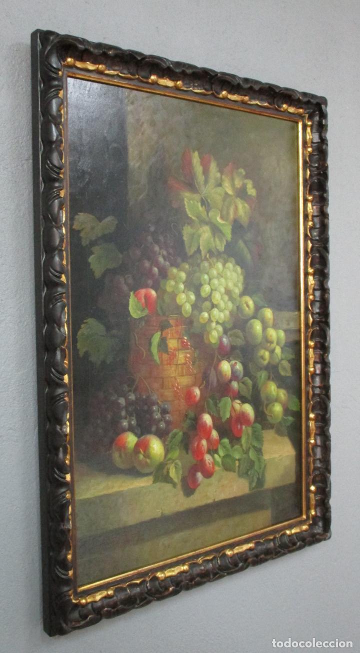 Arte: Precioso Bodegón - Óleo sobre Tela - Frutas - S. XIX - Foto 4 - 213338661