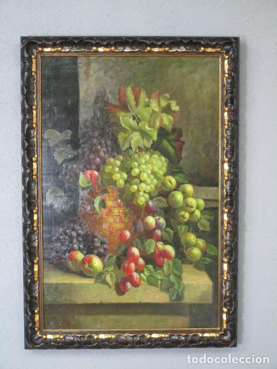 Arte: Precioso Bodegón - Óleo sobre Tela - Frutas - S. XIX - Foto 9 - 213338661
