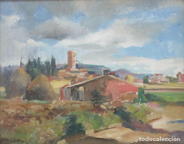 Arte: J. Mombrú Ferrer, Barcelona 1892-1963 - Óleo sobre Tela - Paisaje - Escuela Catalana - Año 1933 - Foto 2 - 213391052