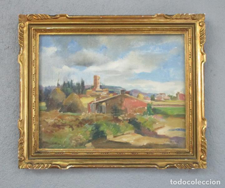 Arte: J. Mombrú Ferrer, Barcelona 1892-1963 - Óleo sobre Tela - Paisaje - Escuela Catalana - Año 1933 - Foto 8 - 213391052
