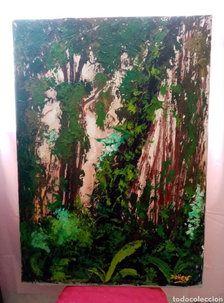 Arte: Hermosa pintura Óleo sobre lienzo paisaje bosque con verdes encendidos 91.7cm x 65cm - Foto 3 - 213391360