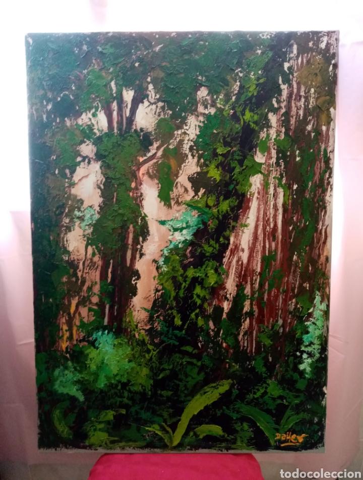 HERMOSA PINTURA ÓLEO SOBRE LIENZO PAISAJE BOSQUE CON VERDES ENCENDIDOS 91.7CM X 65CM (Arte - Pintura - Pintura al Óleo Moderna sin fecha definida)