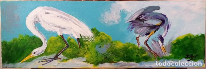 FLAMENCOS ÓLEO SOBRE LIENZO DE 30 X 89 CM (Arte - Pintura - Pintura al Óleo Moderna sin fecha definida)