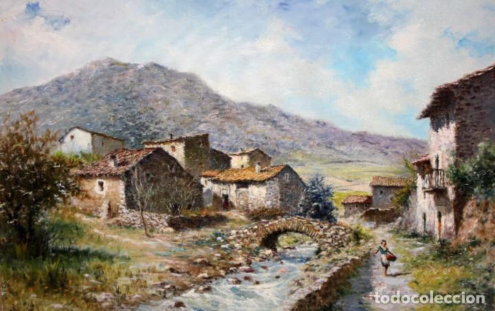MARIO GINESTA RUIZ (BARCELONA, 1923 - 2003) OLEO SOBRE LIENZO. PAISAJE RURAL (Arte - Pintura - Pintura al Óleo Contemporánea )