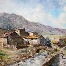 Arte: MARIO GINESTA RUIZ (BARCELONA, 1923 - 2003) OLEO SOBRE LIENZO. PAISAJE RURAL. Lote 213487082
