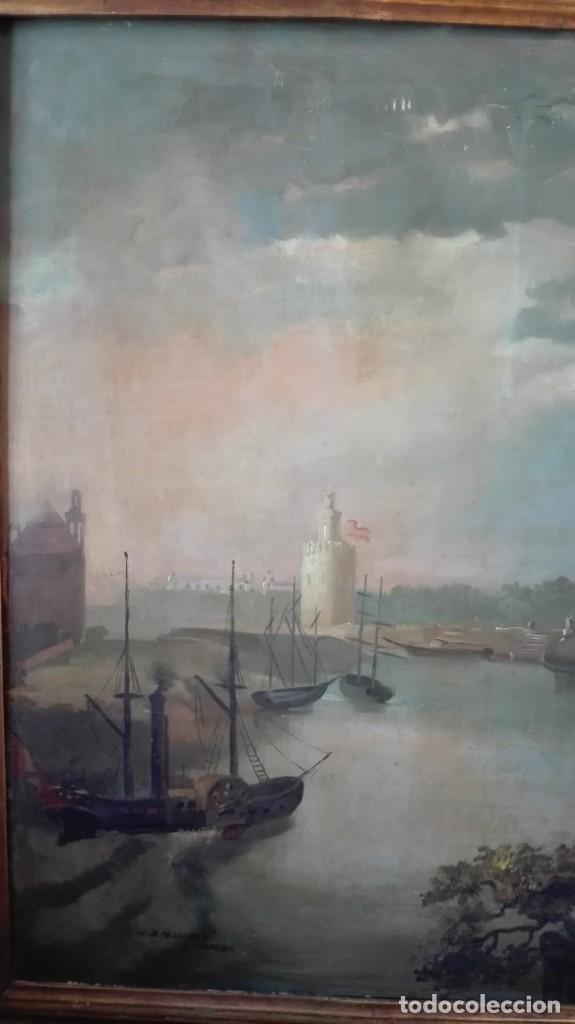 Arte: Óleo sobre lienzo río Guadalquivir Torre del oro y personajes firmado j Palomar Sevilla - Foto 2 - 213554186