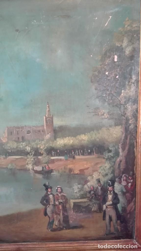 Arte: Óleo sobre lienzo río Guadalquivir Torre del oro y personajes firmado j Palomar Sevilla - Foto 4 - 213554186
