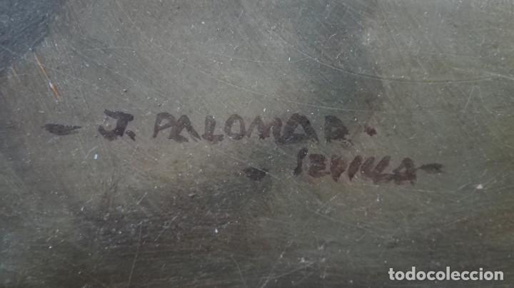 Arte: Óleo sobre lienzo río Guadalquivir Torre del oro y personajes firmado j Palomar Sevilla - Foto 5 - 213554186