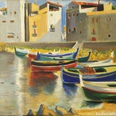 Arte: FRANCISCO VIDAL PALMADA (GERONA, 1894- ?) - DOS MARINAS.OLEOS/TELA.FIRMADOS.. Lote 213607500