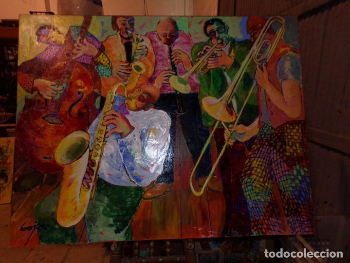 OLEO TECNICA MIXTA SOBRE TELA GRAN MEDIDA BANDA DE JAZZ (Arte - Pintura - Pintura al Óleo Contemporánea )