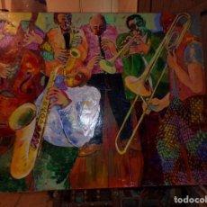 Arte: OLEO TECNICA MIXTA SOBRE TELA GRAN MEDIDA BANDA DE JAZZ. Lote 213632161