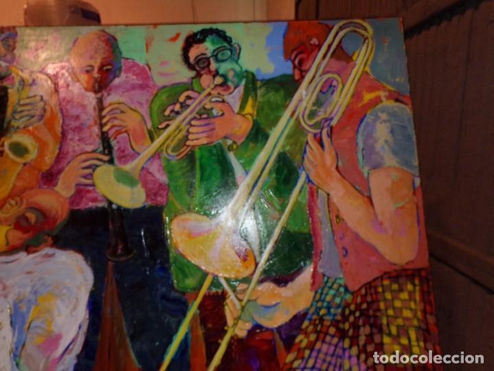 Arte: oleo tecnica mixta sobre tela gran medida banda de jazz - Foto 2 - 213632161