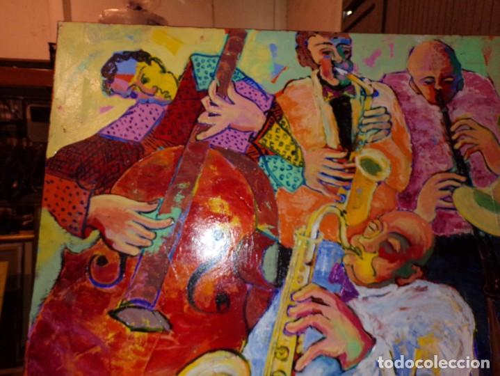 Arte: oleo tecnica mixta sobre tela gran medida banda de jazz - Foto 3 - 213632161