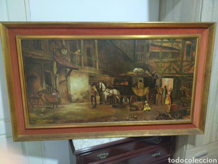 IMPRESIONANTE OLEOGRAMA SOBRE LIENZO FIRMADO M. BENNETT 1805 MEDIDAS 1.58 CM X 91 DE ALTO CON MARCO (Arte - Pintura - Pintura al Óleo Antigua siglo XVIII)