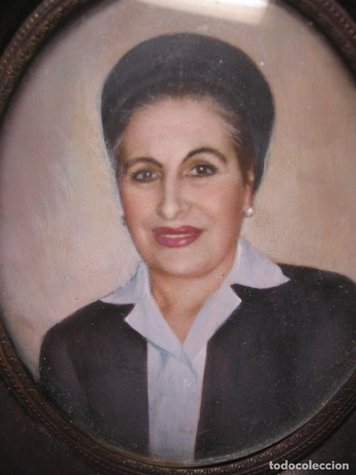 Arte: Antigua pintura miniatura catalana firmada - Retrato femenino Dama s.XX - Foto 2 - 213824211