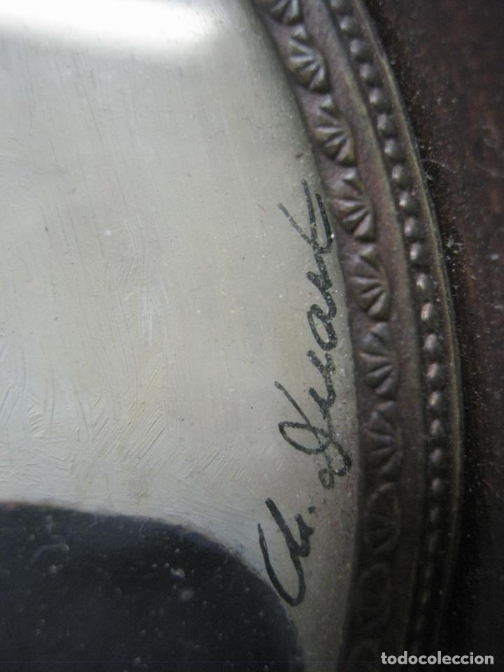 Arte: Antigua pintura miniatura catalana firmada - Retrato femenino Dama s.XX - Foto 3 - 213824211