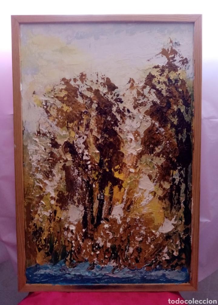 Arte: Envolvente paisaje, bosque abstracto. Con Colores y tonalidades Oro. Óleo sobre tabla + marco - Foto 2 - 213882382