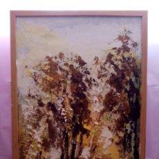 Arte: ENVOLVENTE PAISAJE, BOSQUE ABSTRACTO. CON COLORES Y TONALIDADES ORO. ÓLEO SOBRE TABLA + MARCO. Lote 213882382