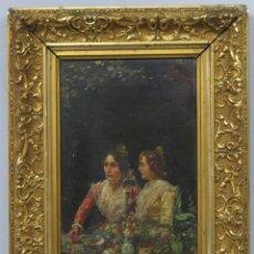Arte: PAREJA DE VALENCIANAS. OLEO S/ LIENZO. GENARO PALAU (1868-1933). Lote 213935751
