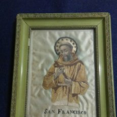 Arte: CUADRO RELIGIOSO SIGLO XIX SAN FRANCISCO ,BORDADO A MANO EN SEDA. Lote 214030307