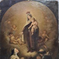 Arte: OLEO SOBRE CARTÓN VIRGEN DEL CARMEN (CIRCULO HNOS. BAYEU) SIGLO XVIII. Lote 214174568