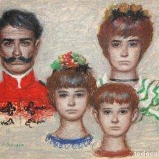 Arte: ALFREDO OPISSO CARDONA (1907- 1980) TECNICA MIXTA. RETRATO FAMILIAR. Lote 214181175