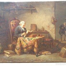 Arte: ESCUELA FRANCESA O INGLESA, FINALES DEL SIGLO XVIII, LECTOR A SU MESA DE ESTUDIOS, ESTILO DE CHARDIN. Lote 214188616