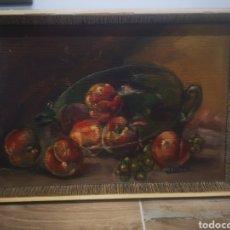 Arte: BODEGÓN PINTADO AL OLEO SOBRE PANEL DE MADERA, FIRMADO J. MIRO. ENMARCADO 43X30. Lote 214220467
