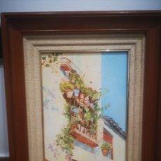Arte: OLEO SOBRE LIENZO, BALCÓN CON FLORES. ANONIMO, ENMARCADO 33X42CM. Lote 214220858