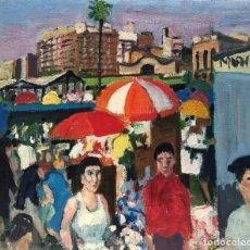 Arte: IGNASI MUNDÓ MARCET (1918-2012) - LOS ENCANTES DE BARCELONA - ÓLEO LIENZO. Lote 214244803