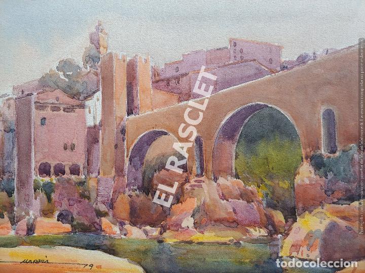 PINTURA ACURELA DE - BESALU - JOSEP MARFA GUARRO DE BCN - SPAIN - (Arte - Pintura Directa del Autor)