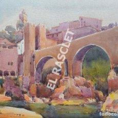 Arte: PINTURA ACURELA DE - BESALU - JOSEP MARFA GUARRO DE BCN - SPAIN -. Lote 214371828